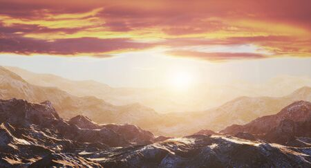 Rocks on the background of a beautiful golden sunset. 3d rendering