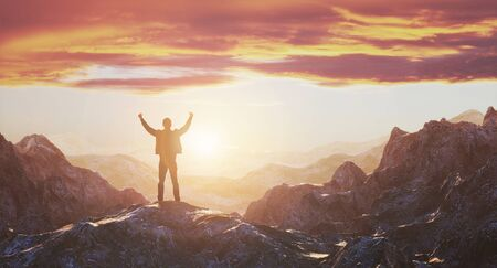 Hiker with arms up outstretched on mountain top looking at inspirational landscape. Inspiration and travel concept. 3d rendering 免版税图像