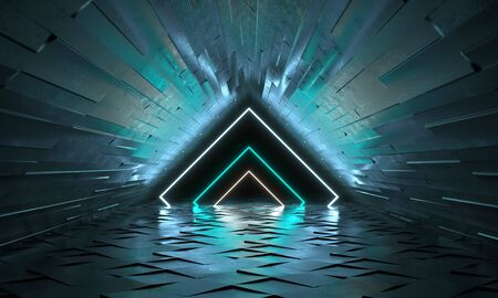 Futuristic background with neon shapes of a triangle and reflection. 3d rendering