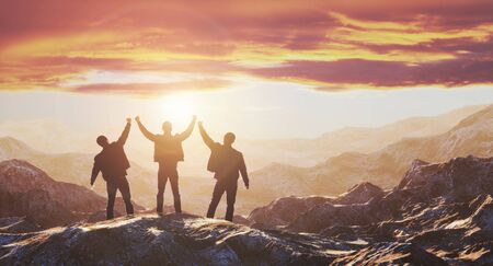 Three guys meet the dawn on the top of the mountain. 3d rendering