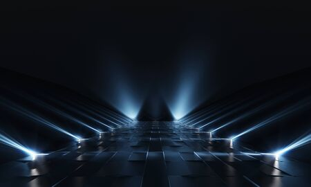 Background of empty dark podium with lights and tile floor. 3d rendering