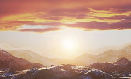 Background with a golden sunset among the mountains. Empty space for text or object. 3d rendering
