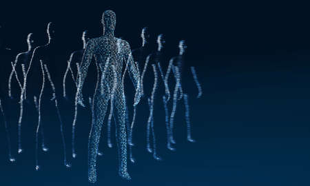 Human bodies made of ones and zeros. 3d rendering