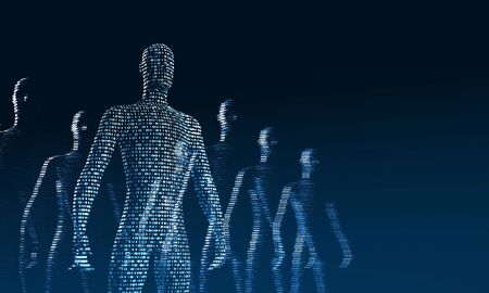crowd of walking digital people. The concept of the symbiosis of man and technology. Computer integration in humans. 3d rendering Stok Fotoğraf