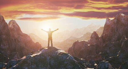 Silhouette of a man standing on top of a mountain against a sunset. Inspiration and creativity. Nature and love. 3d rendering