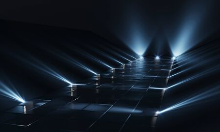 Background of empty dark podium with blue lights and tile floor. 3d rendering