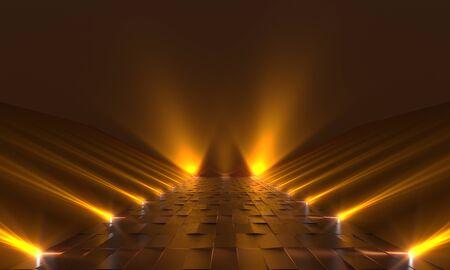 Background of empty dark podium with yellow lights. 3d rendering
