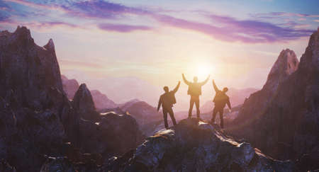 Group of peoples standing on mountain top over sunrise twilight background. Success and Leadership concept. 3d rendering 免版税图像