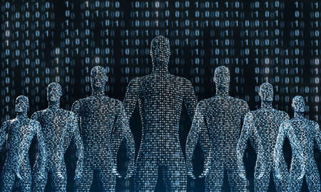 Crowd of standing digital people. The concept of the symbiosis of man and technology, medicine. 3d rendering