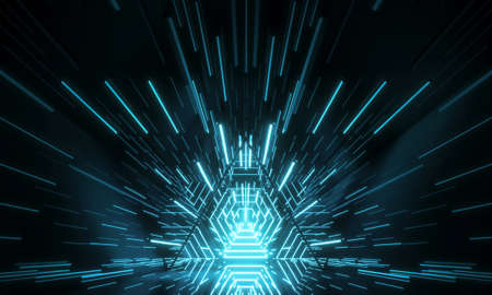 Abstract Futuristic Technology concept. Neon Hexagon Tunnel modern background. 3d rendering
