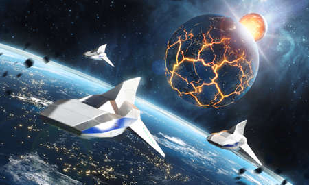Three space ships flying to the collapsing planet. Sci-Fi concept. 3d rendering. 免版税图像