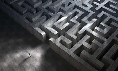 Man entering a huge mysterious maze. 3D Rendering