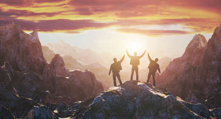 Silhouette of the team on the peak of mountain. 3d rendering