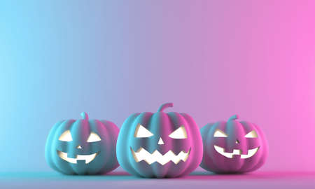 Halloween pumpkins on neon gradient background with space for text. 3D Rendering