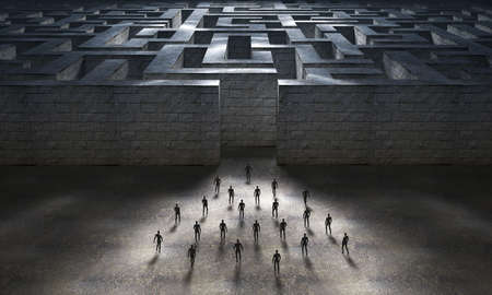 A group of people heading towards the entrance to a large maze. 3D Rendering