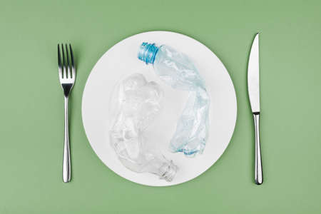 Plastic and organic garbage on the plate 免版税图像