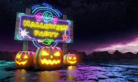 Pumpkins and Billboard with Shiny Neon Lamps under the night stars. Happy Halloween Greeting Card. 3d rendering 免版税图像