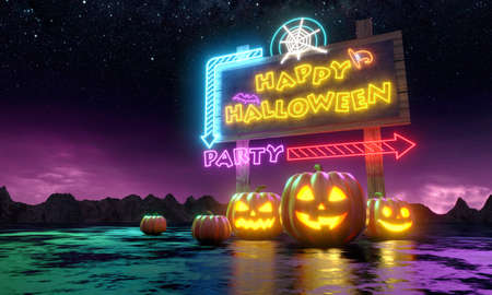 Pumpkins and neon banner with fun party invitation. Night sky and mountains. 3d rendering