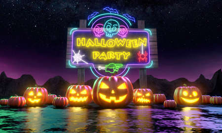 A row of pumpkins Jacko Lantern in front of a billboard inviting you to a fun Halloween party. 3d rendering