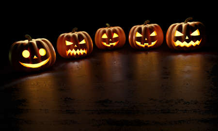 Halloween Pumpkins with reflections on dark background. Happy Halloween Greeting Card. 3d rendering