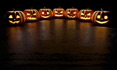 Six creepy Halloween grinning pumpkins glow in the dark with reflections on the floor. 3d rendering