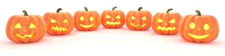 Many Halloween Pumpkins in a row on white background. 3d rendering