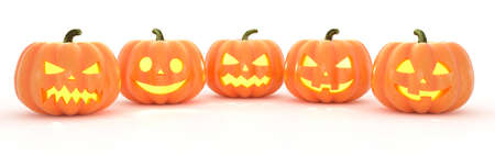 Halloween Jack o Lanterns isolated on a white background. 3d rendering