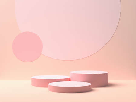Abstract geometry shape. Pink podium on pink color background for product. Minimal concept. 3d rendering