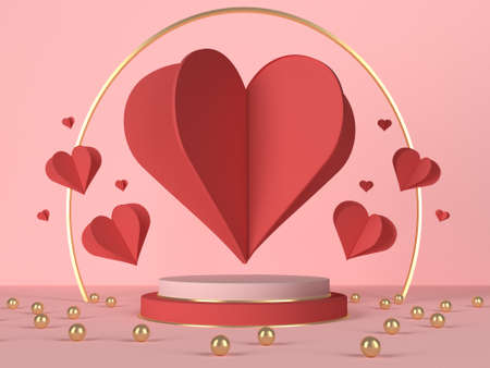 3d podium with red hearts and decoration. 3d rendering 版權商用圖片