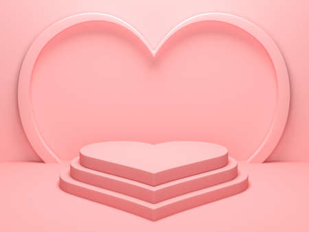 Pastel pink heart shaped podium stage backdrop for product display stand or used in other designs. 3d rendering