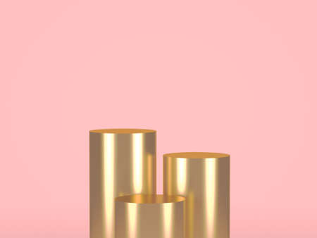 Three gold cylinders on pastel background. 3d rendering