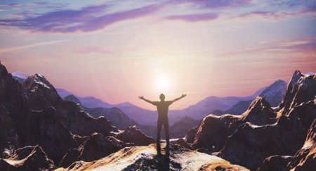 Silhouette of free man hiker open arms at mountain top cliff edge. Freedom concept. 3d rendering