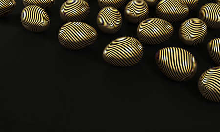 Set of gold eggs on black background with copy space. 3d rendering