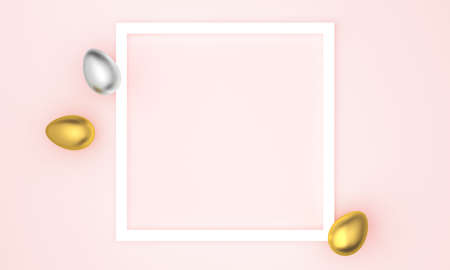 Golden and silver Easter eggs on pink pastel background, white frame with space for text. 3d rendering 版權商用圖片