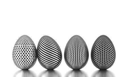 Row of silver eggs on white. Business and easter concept. 3d rendering 版權商用圖片