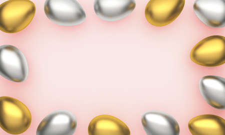 Gold, silver shiny Easter eggs on pink pastel background with space for text. 3d rendering