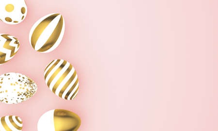 Colored painted eggs of golden color on pink pastel background. 3d rendering