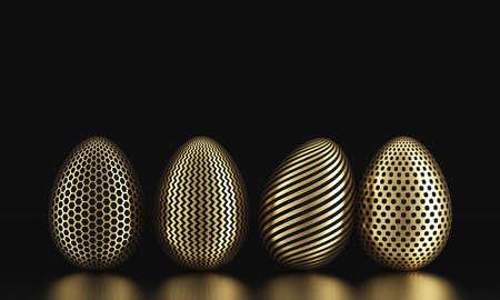 Row of golden eggs on black. 3D Rendering