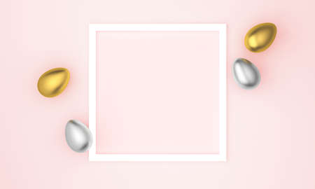 Gold and silver easter eggs on pastel pink background. Flat lay, top view, copy space. 3D Rendering