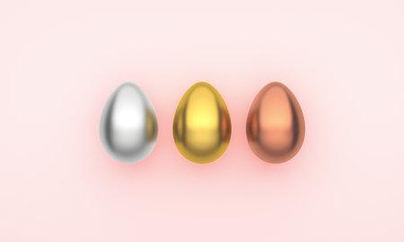 Three Easter eggs on a pink background. 3D Rendering 版權商用圖片