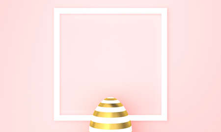 Golden Easter egg on pink pastel background, white frame with space for text. 3D Rendering