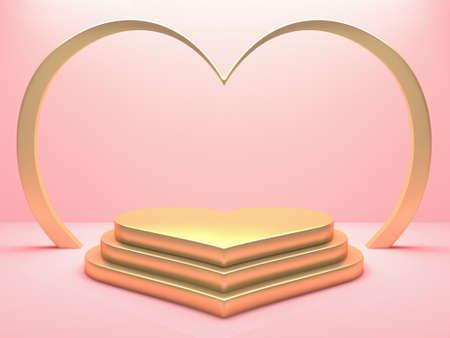 Gold metallic heart podium on pink background. Happy Valentines day concept. 3D rendering 版權商用圖片