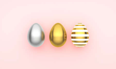 Easter decor with eggs, pastel background. Happy Easter card. 3d rendering 版權商用圖片