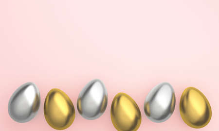 Golden Easter Eggs in row placed on pink background. 3D Rendering 版權商用圖片