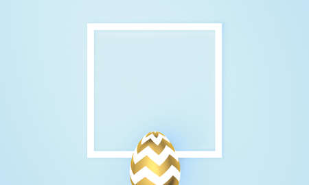 Easter egg on blue pastel background with white frame for space for text. 3D Rendering