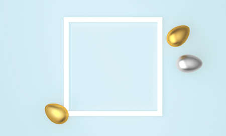 Golden and silver Easter eggs on blue pastel background, white frame with space for text. 3D Rendering 版權商用圖片