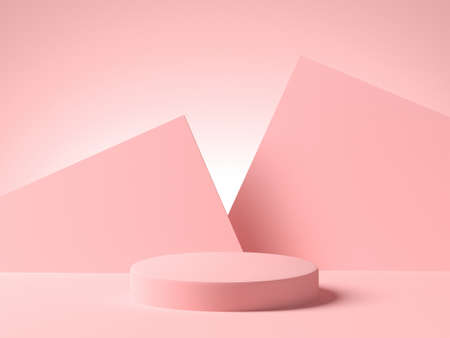 Pink empty platform with pink geometric shapes on background. 3d rendering