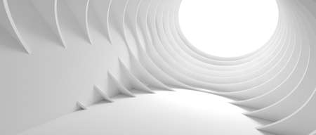 Abstract Architecture Background. 3d Illustration of White Circular Building. Modern Geometric Wallpaper. 3d rendering 版權商用圖片