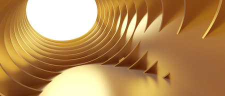 Abstract Architecture Background. 3d Illustration of Gold Circular Building. Modern Geometric Wallpaper. Futuristic Technology Design. 3d rendering