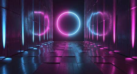 Sci Fi Future Neon Purple Blue Glowing Circle Shape Empty Dark Spaceship Tunnel Underground Vibrant Lasers Shape Grunge Concrete Reflective Graphic Background 3D Rendering